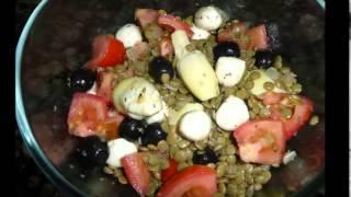 1508.- Ensalada de lentejas con mozzarella, ( Thermomix )