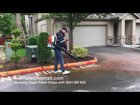 2017 Stihl Br 600 Backback Blower  Cleaning Paint Chips Off Asphalt Parking Lot - Top Rated Asphalt