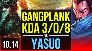 GANGPLANK vs YASUO (TOP) | Rank 9 Gangplank, KDA 3/0/8, 2 early solo kills | EUW Challenger | v10.14