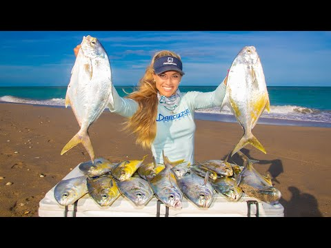 Surf Fishing For Florida POMPANO (Catch Clean Cook) Nut Encrusted With Coconut Sauce!
