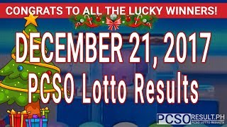 PCSO Lotto Results Today December 21, 2017 (6/49, 6/42, 6D, Swertres, STL & EZ2)