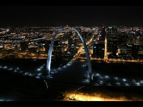 Night aerial footage of St. Louis and the Gateway Arch in HD