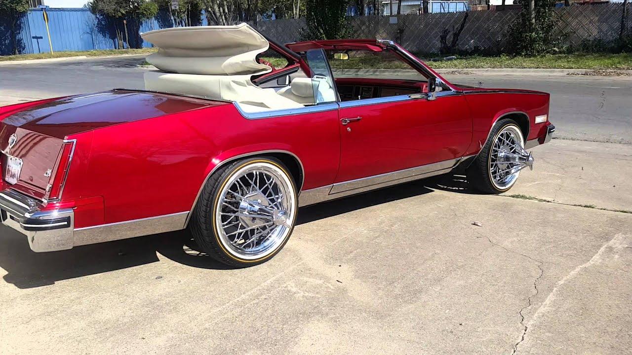 Candy Red 84 Cadillac Eldorado Convertible on 84'z - YouTube
