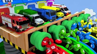 Learning Colors city Vehicle magic slide chocolate ball pool transforming Play for kids car toys