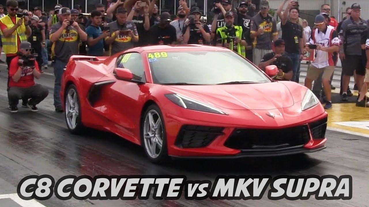 C8 Corvette vs MKV Supra - Drag Race