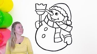 How To Draw a Snowman - Christmas Coloring Page