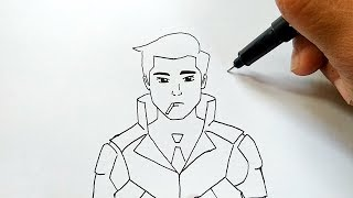 Menggambar Ejen Rizwan versi kartun 2D animasi Ejen Ali | How to draw Ejen Rizwan 2D version