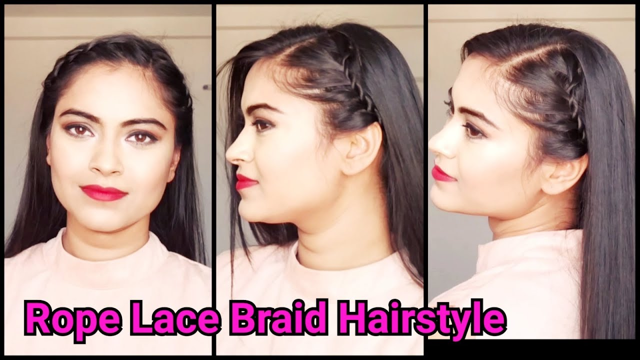 everyday easy indian hairstyles//rope lace braid hairstyle for