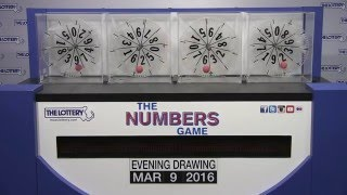 Evening Numbers Game Drawing: Wednesday, March 9, 2016