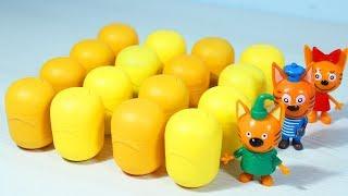 Три кота и капсулы с игрушками из мультиков Свинка Пеппа Маша и Медведь
