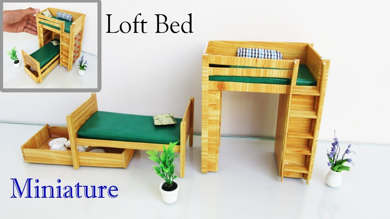 how to make miniature furniture. Loft Bed | How To Make A Miniature Furniture Easy Crafts Ideas -