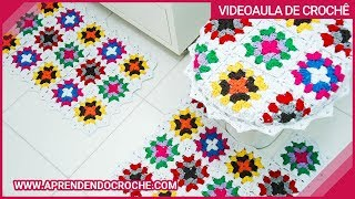 Repeat youtube video Jogo Banheiro Crochê Squares - Tapete Pia - Aprendendo Crochê