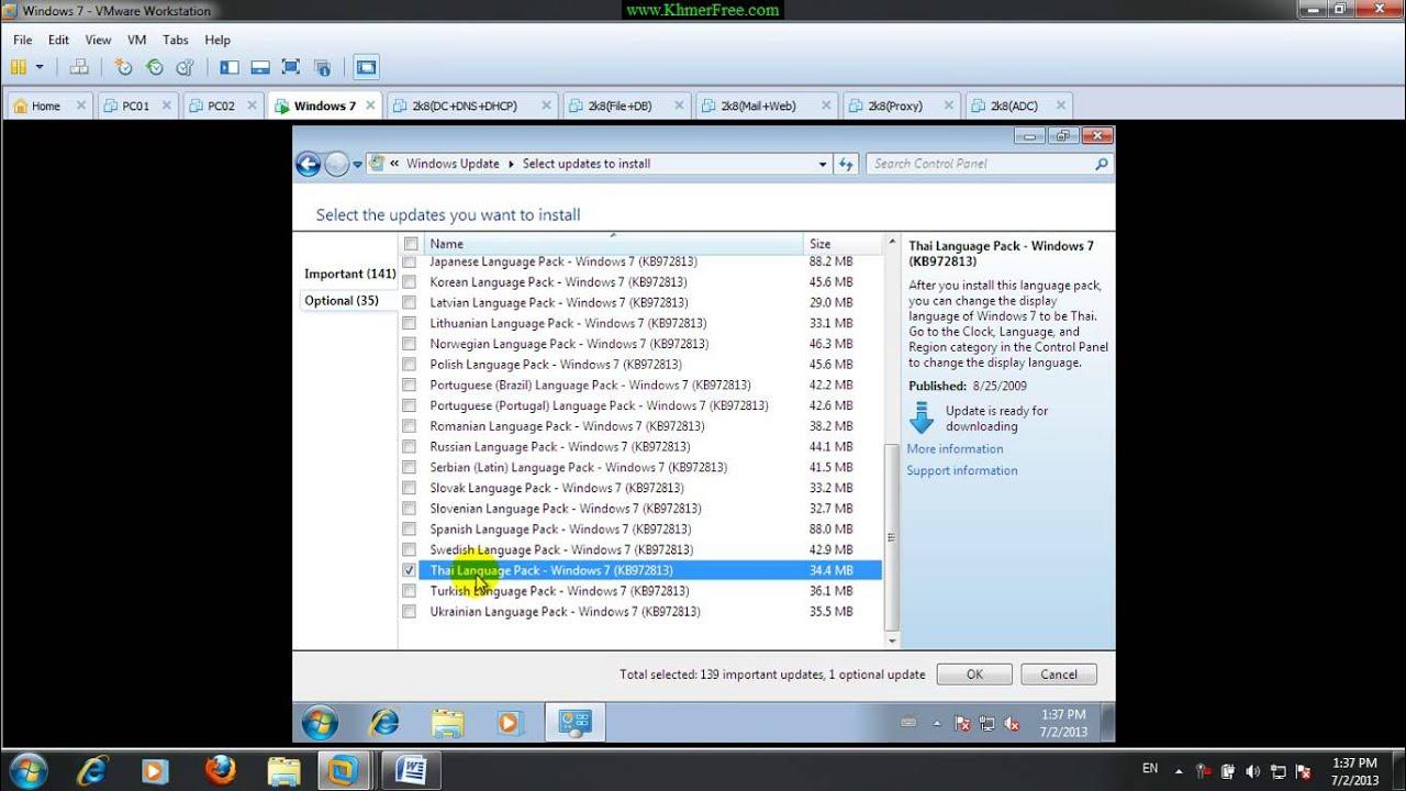 Change Language Windows 7 English to Thai by Windows