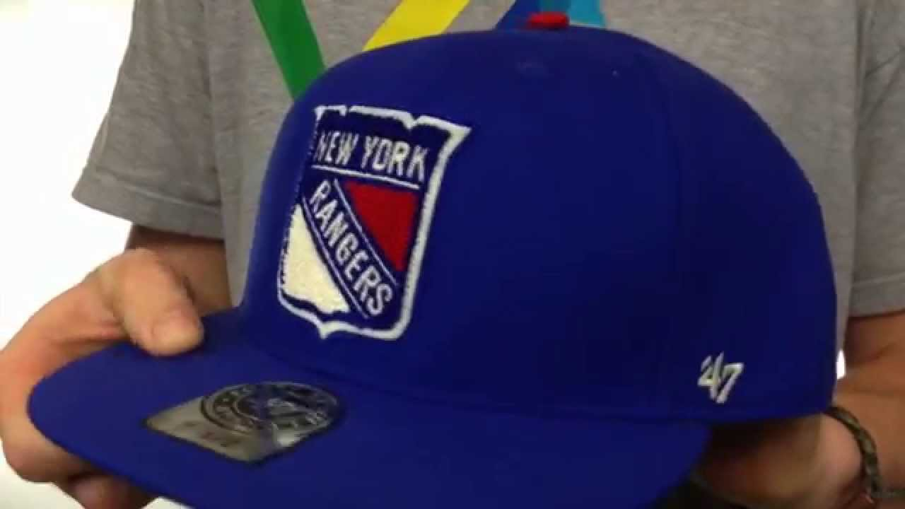 90b3cb99141 NY Rangers  NHL CATERPILLAR  Royal Fitted Hat by 47 Brand - YouTube