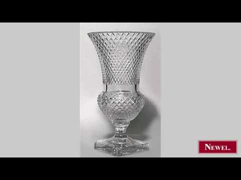 Antique English Victorian cut crystal vase with flaired