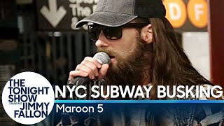 Jimmy and Maroon 5 put on disguises and give a surprise performance...