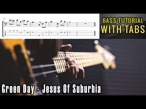 Green Day - Jesus Of Suburbia - BASS Tutorial [With Tabs] - Play Along