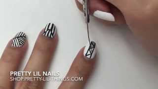 Black u0026 White Geometry 黑白幾何線條 by Pretty Lil Nails