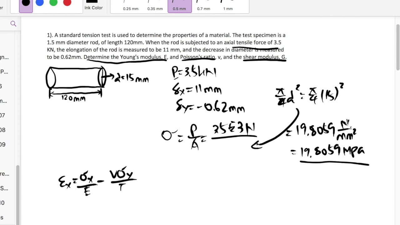 Homework11: Determine Poisson\'s ratio and Young\'s modulus from ...