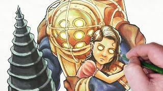 Let S Draw Big Daddy And Little Sister From Bioshock Youtube