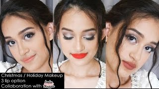 Easy Christmas / Holiday Makeup | 3 lip option | Collab with IndoBeautyVlogger | Nadya Aqilla