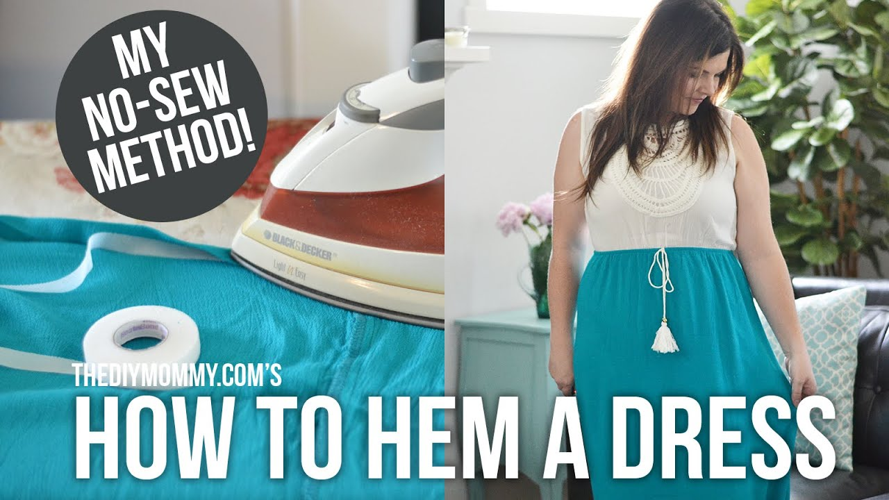 how to hem a dress or skirt no sewing required youtube. Black Bedroom Furniture Sets. Home Design Ideas