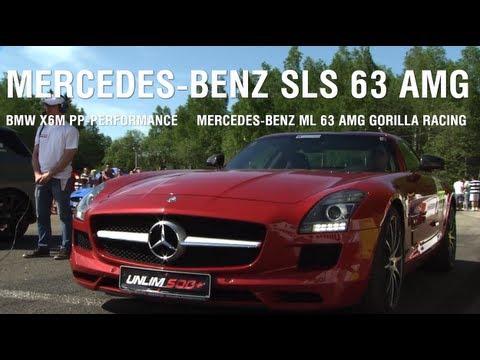 Mercedes-Benz SLS 63 AMG vs BMW X6M PP-Perfprmance vs Mercedes ML63 AMG Gorilla Racing