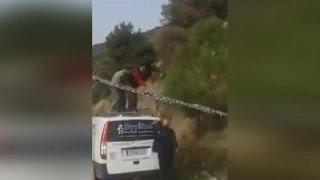 В Греции спасли козла, зацепившегося рогами за линию электропередач(Курьезный случай произошел в Греции. Один из пользователей