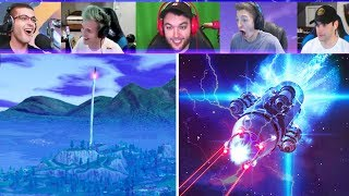 Fortnite Streamers REACT to  Rocket Launch! (Fortnite Battle Royale Rocket Launch LIVE Gameplay)