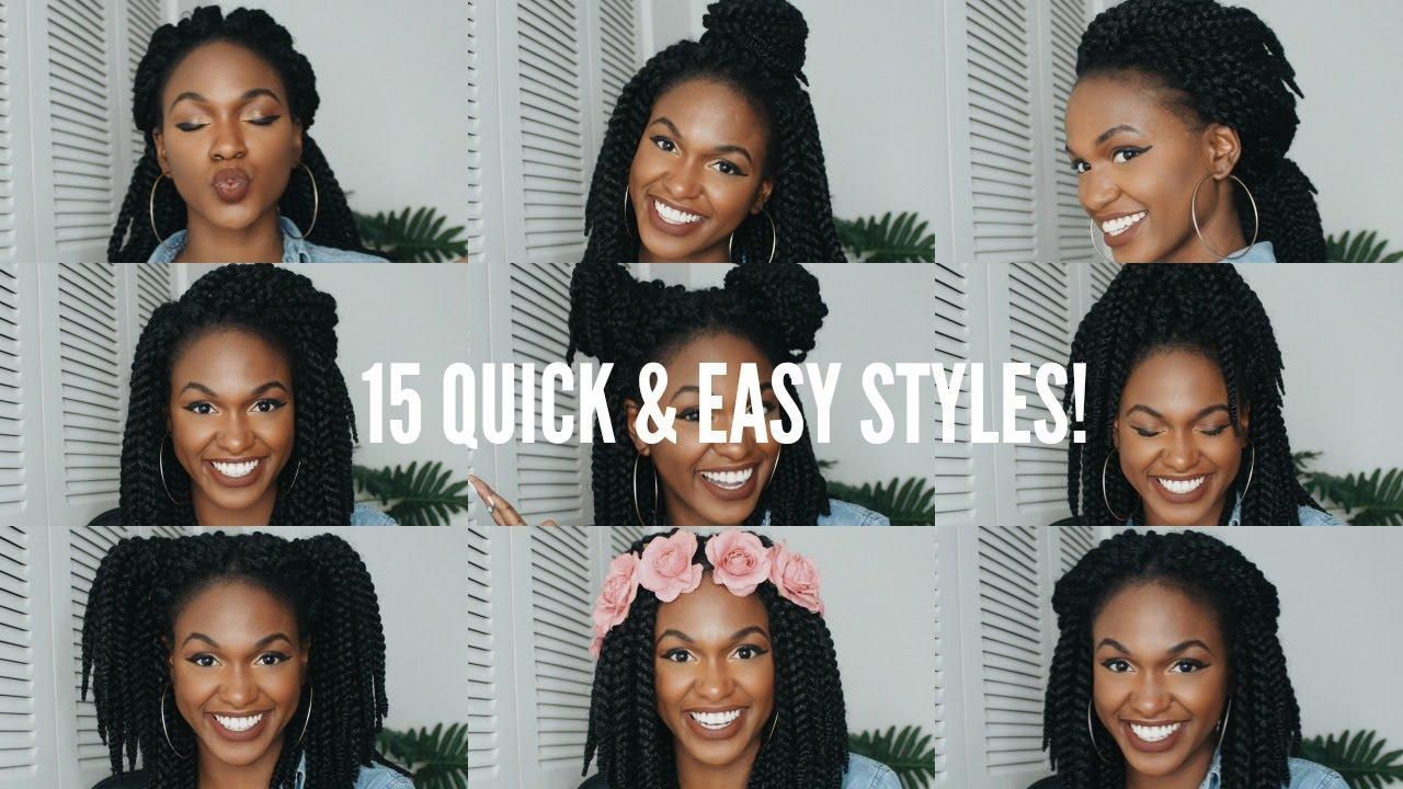 15 quick & easy crochet braid hairstyles!!! (12in) - tutorial