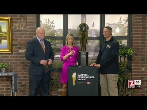Clemson's National Championship trophy visits 7News