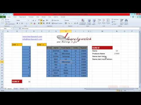 How To Use SumIf Formula In Excel (Hindi / Urdu)