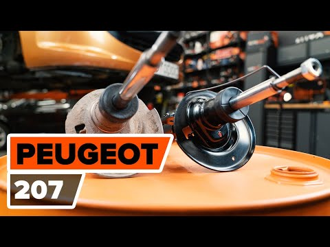 How to change a front shock strut on PEUGEOT 207 [TUTORIAL AUTODOC]