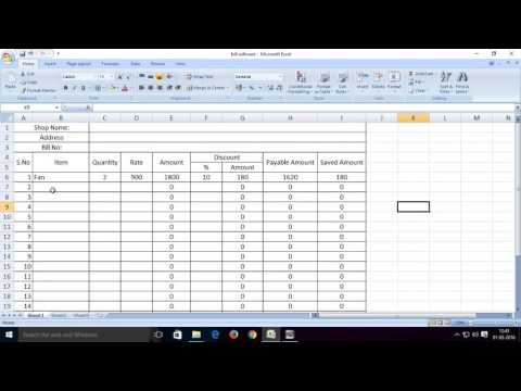 How to create or make billing software in Excel for shops/small business | venkatbta