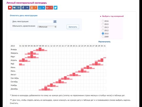 Менструальный календарь онлайн