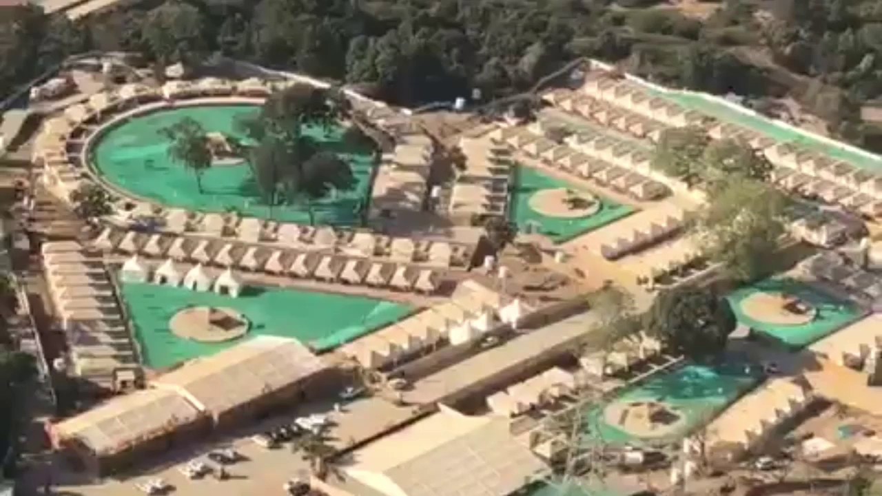 Statue of Unity as viewed from helicopter ride, costing Rs  2900 per person