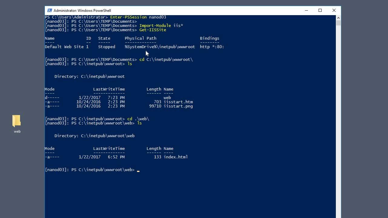 Create A New IIS Web Site On Windows Nano Server 2016
