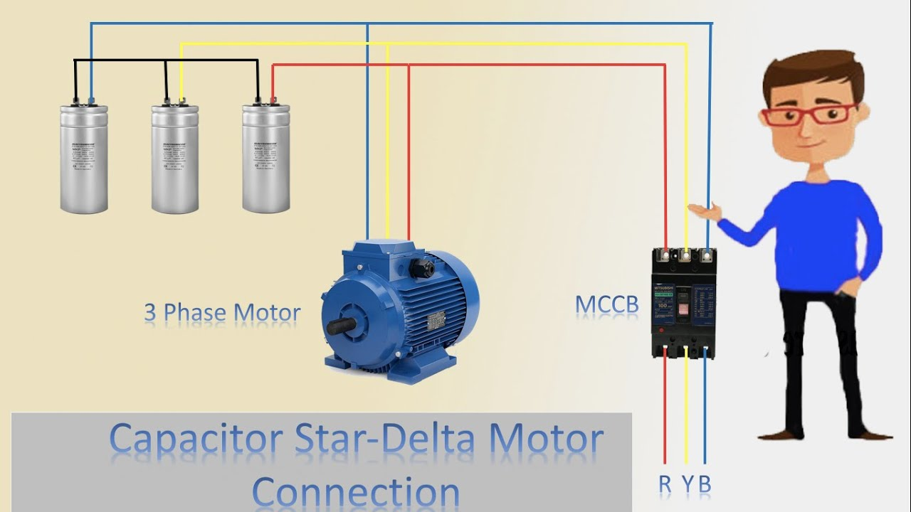 3 phase motor capacitor star delta connection | motor | star connection |  delta connection - youtube  youtube