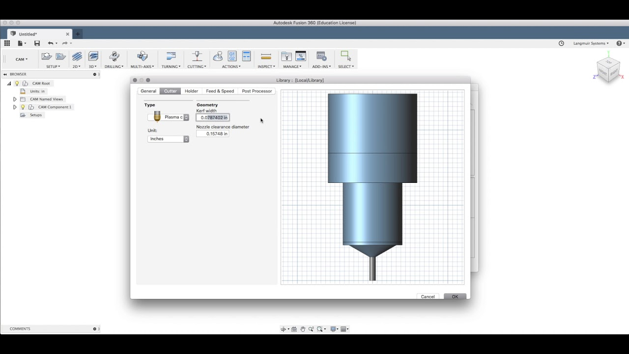 Fusion 360 Tutorial: CAM 2 - Creating a Plasma Cutting Tool