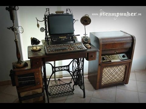steampunk-computer,-rechner,-funktioniert,-desktop,-tastatur,-maus,-arbeitsplatz