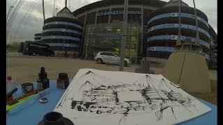 Urban Sketching Timelapse : Manchester City, Etihad Stadium, Manchester.