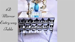 Diy 3D Mirror Entry Table with Drawers from a Thrift find!| Inexpensive Home Decor ideas