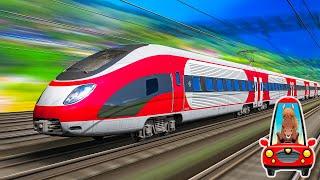 Поезда для детей. Локомотивы и вагоны для малышей. Изучаем железнодорожный транспорт