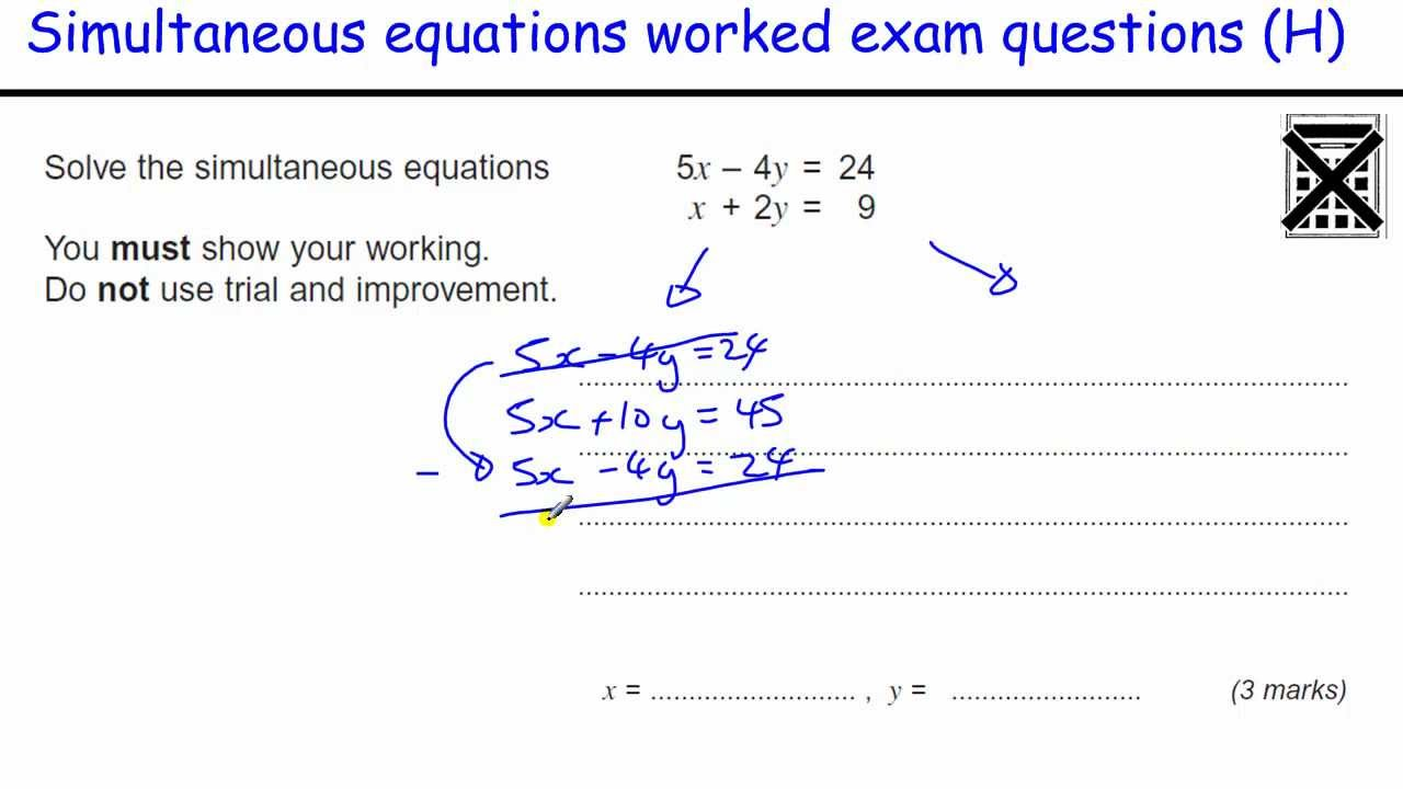 Worksheets Simultaneous Equations Worksheet how to do simultaneous equations gcse maths revision higher exam qu elimination substitution youtube