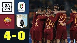 Patrick Schick mit Hackentrick | AS Rom - Virtus Entella 4:0  | Coppa Italia | DAZN Highlights