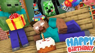 Monster School : HEROBRINE BIRTHDAY PARTY Challenge - Minecraft Animation