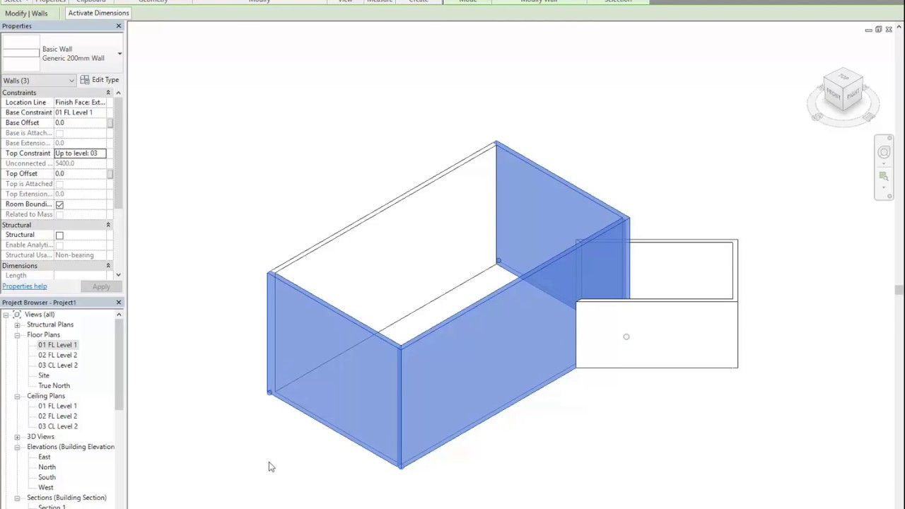 Revit House 05 Changing Wall Height