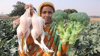 Farm Fresh Broccoli With Chicken Recipe YUMMY! Quick & Healthy Broccoli Cooking Organic Village Food