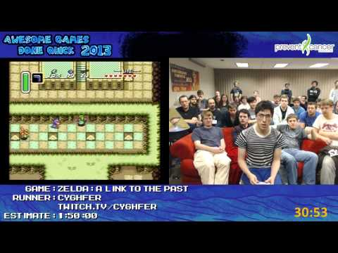 Legend of Zelda: A Link to the Past Speed Run in 1:36:30 by Cyghfer live for AGDQ 2013 [Super NES]