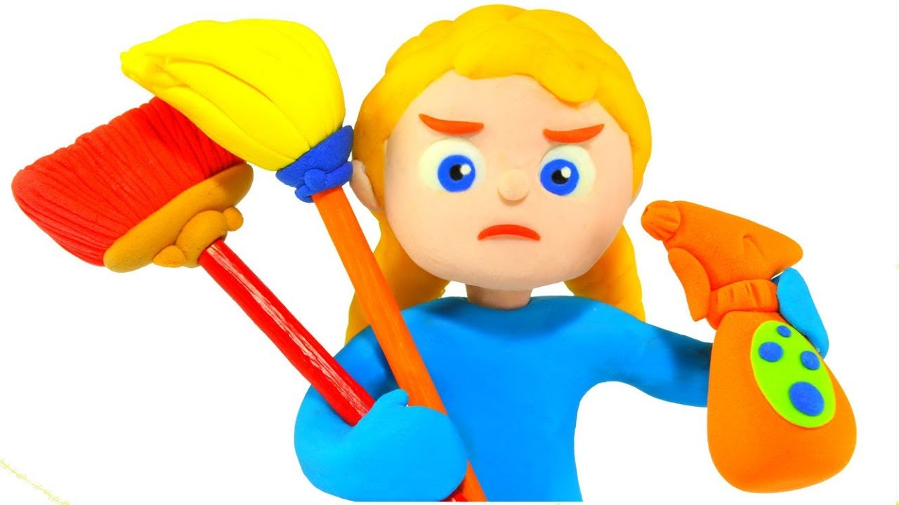SUPERHERO GIRL CLEANS THE ROOM AFTER PLAYING ❤ SUPERHERO PLAY DOH CARTOONS FOR KIDS